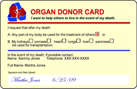 Organ Donor Card